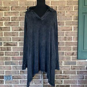 Indigo thread co crochet sleeve hooded top tunic